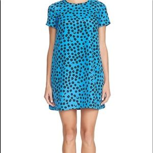 Cece polka dot blue shift dress
